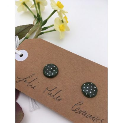 Dotty Racing Green & White Spot Earrings