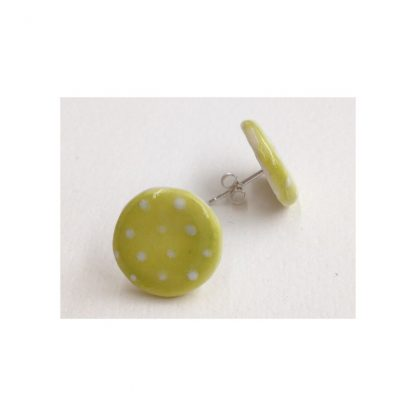 Dotty Lime Green & White Spot Earrings