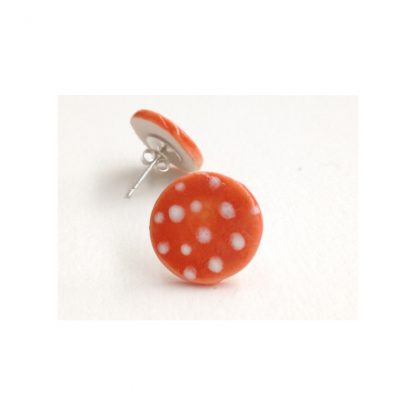 Dotty Orange & White Spot Earrings