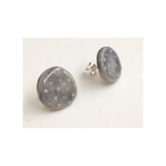 Dotty Smokey Grey & White Spot Earrings