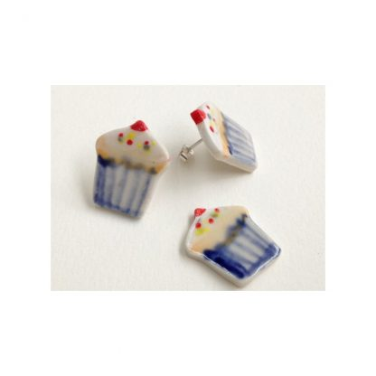 Blue Cupcake Earrings