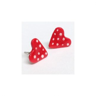 Small Red and White spotty Heart Earrings