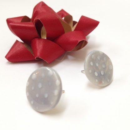 Dotty Light Grey & White Spot Earrings