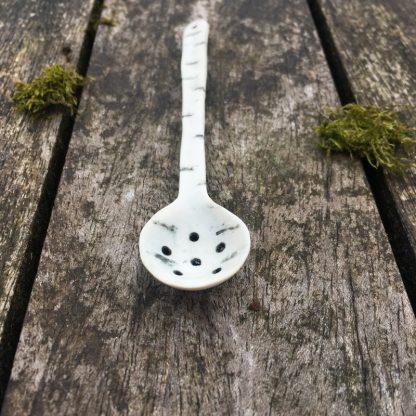 Handmade porcelain spoon - birch