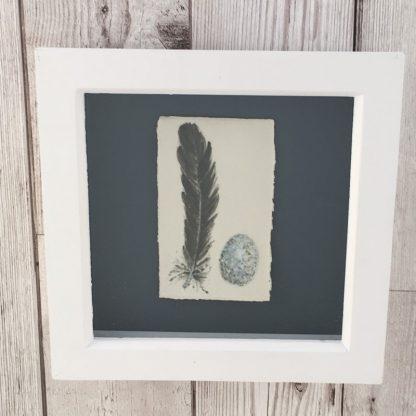 Blackbird Feather & Egg on porcelain, wooden box frame