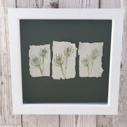 Wildflower studies on porcelain, wooden box frame