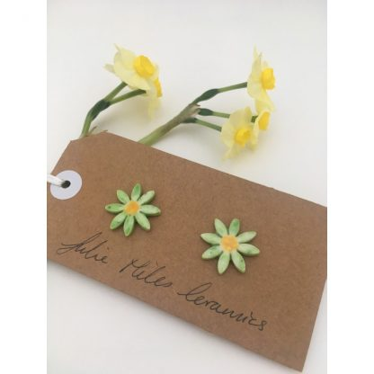 Large Spring Green Daisy Earrings
