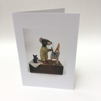 Mill Mouse greetings card - painter mouse