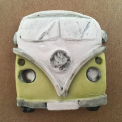 Bright Green Porcelain Campervan Brooch