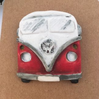 Radiant Red Porcelain Campervan Brooch