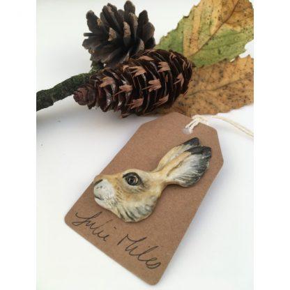 Porcelain hare brooch