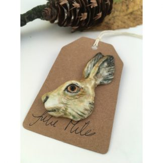 Porcelain hare brooch - glazed